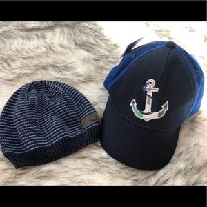 Gymboree anchor hat and striped beanie
